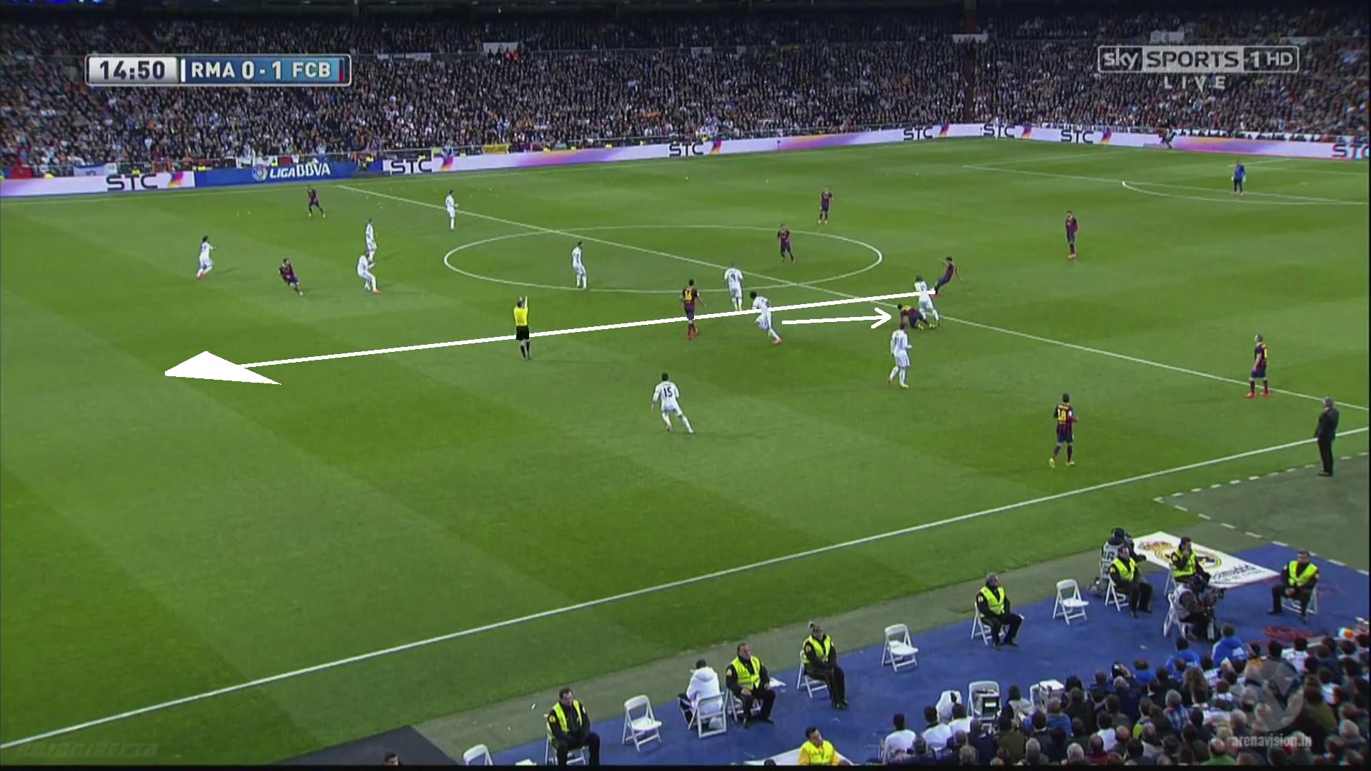 Pepe, attiré par le décrochage de Neymar, sort de son axe droit. Ramos suit le mouvement et demande la remontée de la ligne. Mais Fabregas est sans opposition et la passe peut partir. Messi échoue face à Diego Lopez, mais le Real passe déjà tout prêt de la catastrophe avant son gros temps fort de la première mi-temps.