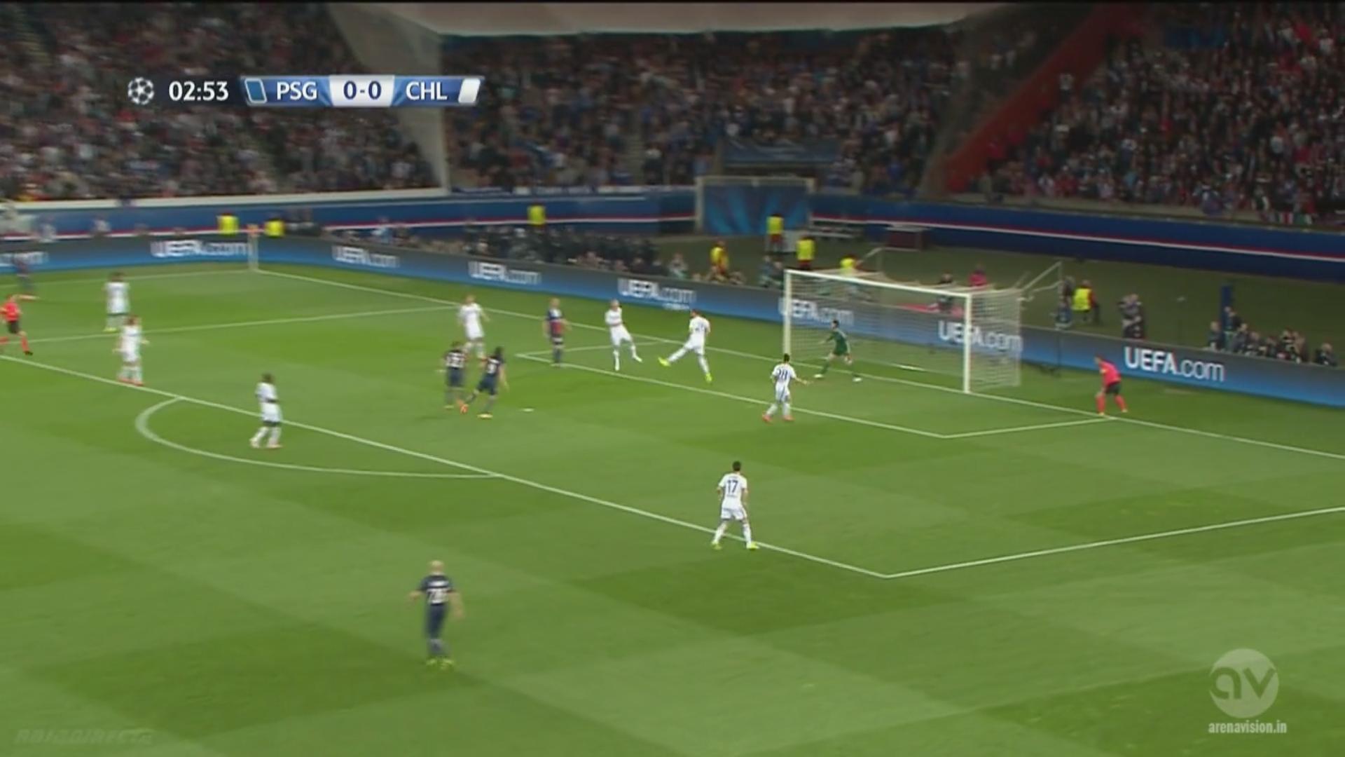 Chelsea recule, mais le repli de David Luiz et Ramires est défaillant. Postés dans un trou de 10 mètres, Lavezzi et Cavani attendent l'erreur qui viendra de Terry.