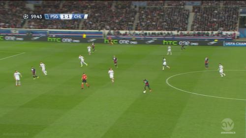 Alex casse facilement la ligne et Paris travaille en largeur un bloc londonien sans vrai point de référence défensive au milieu.