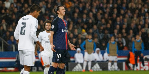 Tough night for Ibra, locked by Varane and Ramos